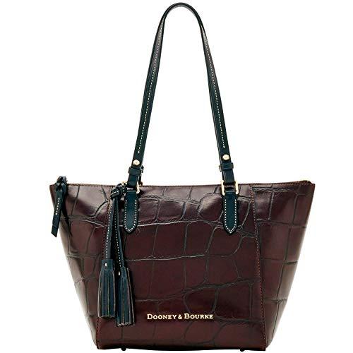 Dooney and Bourke Maxine Tote Croco Emb Leather Shoulder Bag Espresso