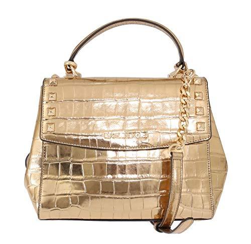 Michael Kors Karla Top Handle Embossed Leather Satchel Crossbody (Medium, Gold)