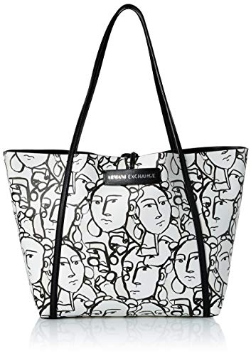A|X Armani Exchange Large Shopping Tote, white/black