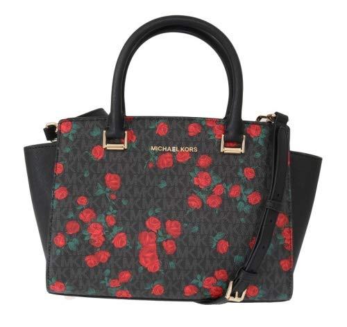 Michael Kors Selma Saffiano Leather Medium Top Zip Satchel Bag – Floral Black/Red