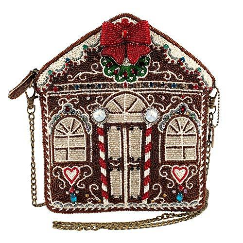 Mary Frances Candy Lane, Beaded Gingerbread House Crossbody Holiday Handbag