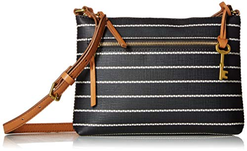 Fossil Women's Fiona PVC Small Crossbody Handbag, Black/White