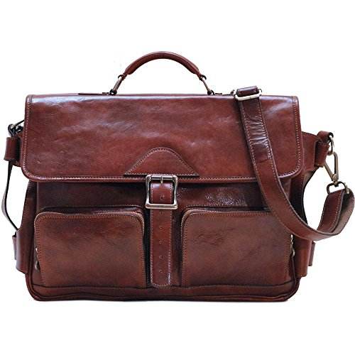 Floto Italian Leather Messenger Bag Briefcase Roma Roller Buckle in Vecchio Brown