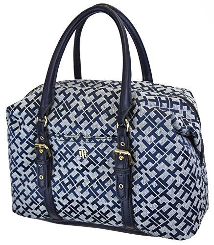 Tommy Hilfiger Women's TH Monogram Satchel Bowler Handbag – Navy, White
