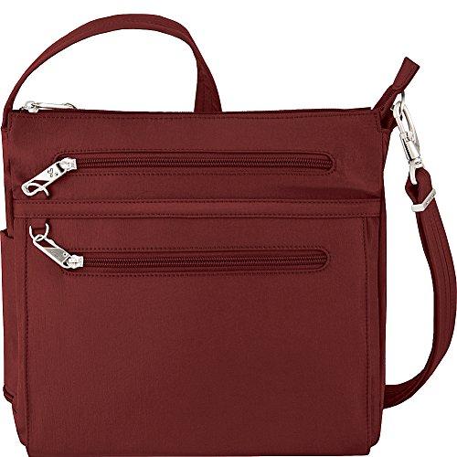Travelon Anti-Theft Essential North/South Bag – Small Nylon Crossbody for Travel & Everyday – (Wine/Gray Interior)