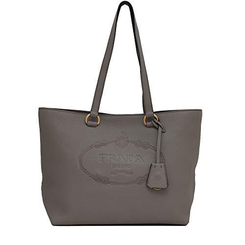 Prada Women's Gray Vitello Daino Leather Shopping Tote 1BG100