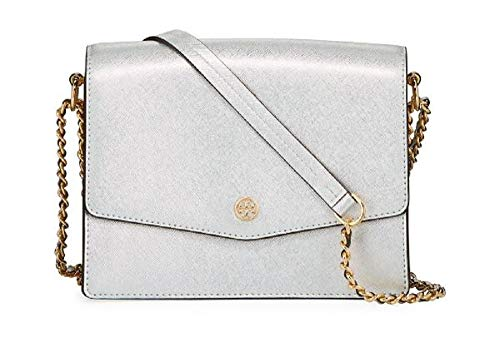 Tory Burch Women's Robinson Silver Metallic Leather Cross Body Handbag