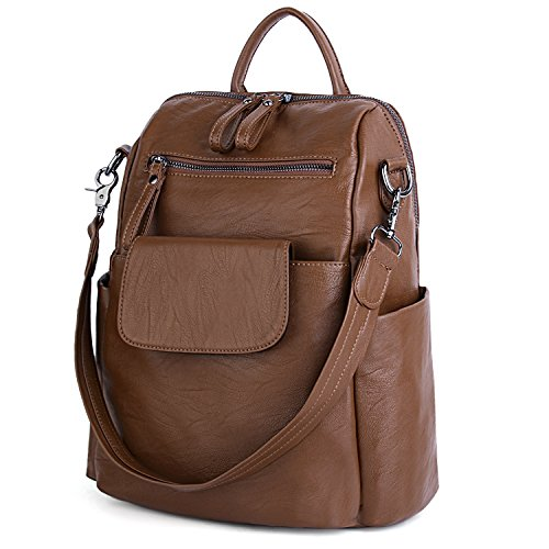 UTO Women Backpack Purse 3 ways PU Washed Leather Ladies Rucksack Shoulder Bag B Brown