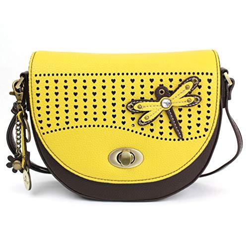 Chala Half Moon Organizer Crossbody Cell Phone Purse-Women Faux Leather Multicolor Handbag with Adjustable Strap – Dragonfly Mustard