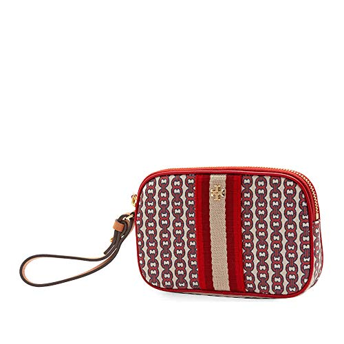 Tory Burch Gemini Link Canvas Wristlet in Liberty Red
