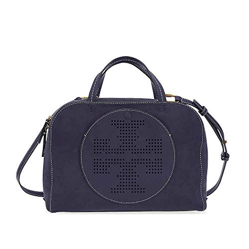 Tory Burch Perforated Double T Suede Satchel (Tory Navy)