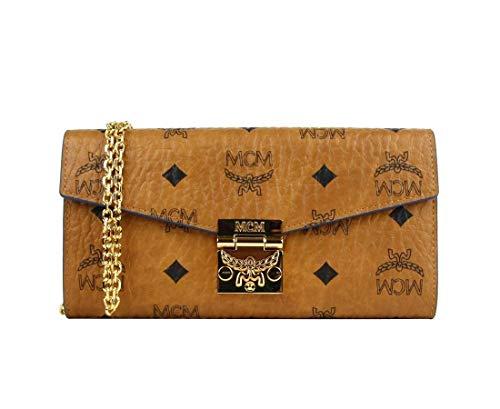 MCM Women's Brown Cognac Visetos Coated Canvas Large Wallet On Chain MYL8AXL82CE001