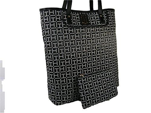 New Tommy Hilfiger Logo Purse Tote Hand Bag & Pouch Black White 2 Piece Set, X-Large