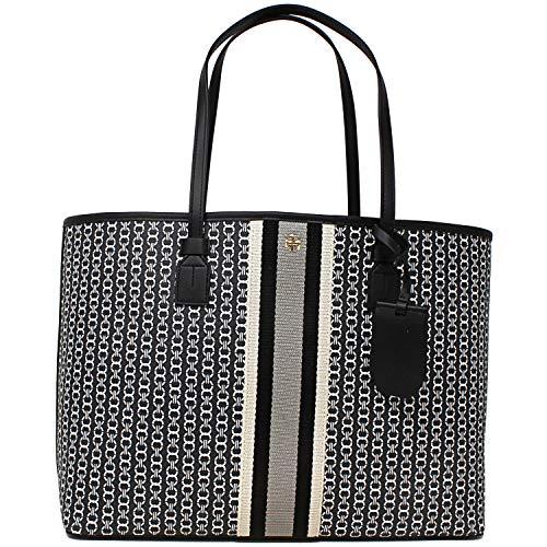 Tory Burch Gemini Link Canvas Black Large Tote Handbag