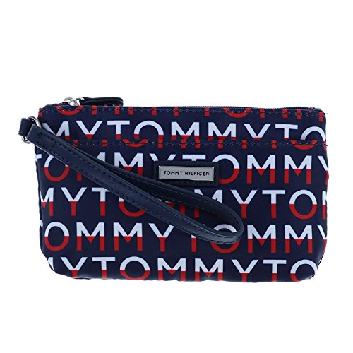 Tommy Hilfiger Womens Two Pocket Wristlet in Navy Print