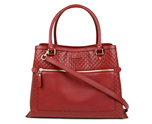Gucci Women's Red Guccissima Leather Large Shoulder Bag 510290 6420