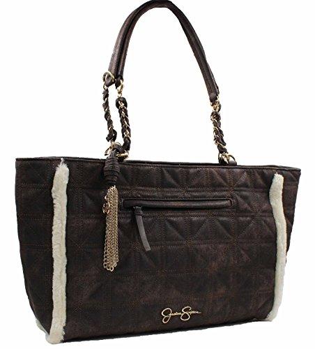 Jessica Simpson Womens Nordia Tote Bag (Chocolate Suede/Cream Fur)