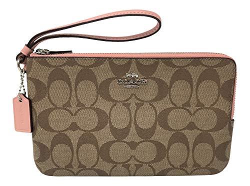 Coach Signature Large Double Zip Wristlet Bag Purse Khaki Petal F16109