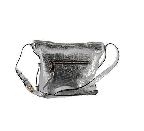 Aimee Kestenberg Pebble Leather Crossbody Handbag- Liza Silver Croco New A292599