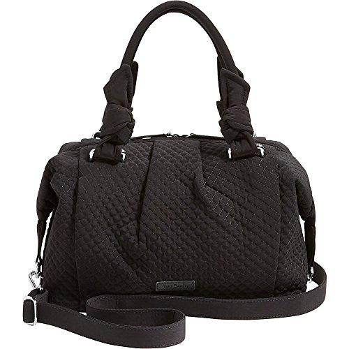 Vera Bradley Womens Hadley Quilted Pleated Satchel Handbag Black Large