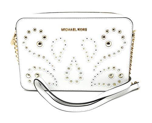 Michael Kors Jet Set Item Large Leather Crossbody Bag Optic White