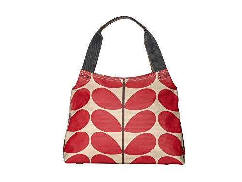 Orla Kiely Solid Stem Print Classic Zip Shoulder Bag Red One Size