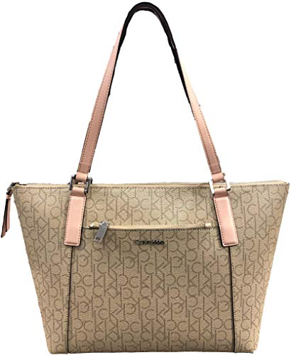 Calvin Klein Monogram Tote with front pocket and Top zip closure, Beige, Large