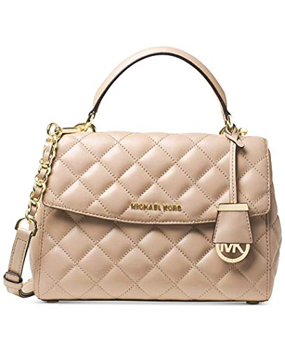 Michael Kors Ava Small Top Handle Quilted Satchel Quilted Leather Bisque/Gold