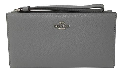 Coach Long Wallet in Polished Pebbled Leather Heather Grey F73156
