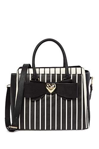 Betsey Johnson Double Black Bow Metallic Heart Charm Black Cream Stripe Handbag Shoulder Bag