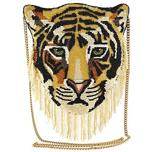 Mary Frances Rajah Beaded Crossbody Tiger Handbag
