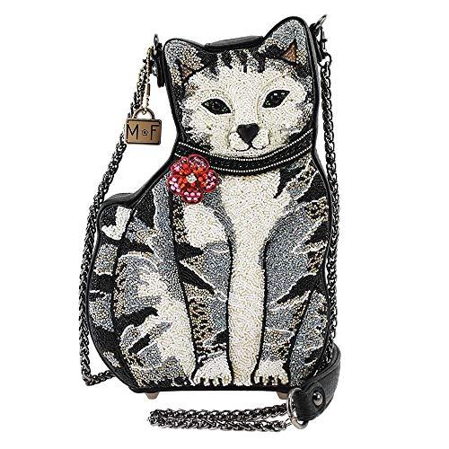 MARY FRANCES 9 Lives Beaded Cat Crossbody Handbag