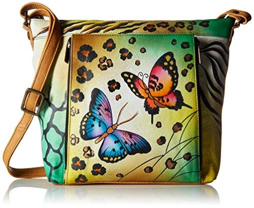 Anna by Anuschka Genuine Leather Travel Organizer   Hand-Painted Original Artwork   Animal Butterfly
