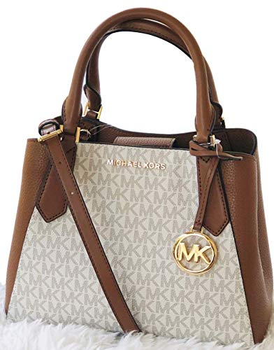 Kimberly Small Satchel Crossbody Top Handle Signature Bag Vanilla