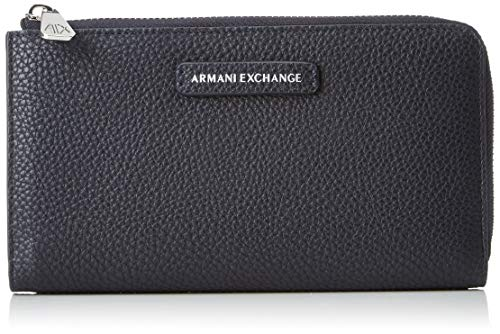 A|X Armani Exchange Round Zip Wallet, Navy 121