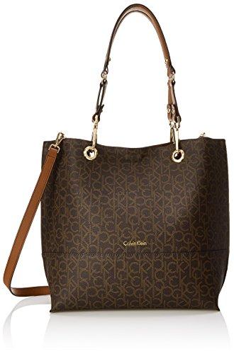 Calvin Klein Sonoma Signature North/South Tote, Brown/Khaki/Luggage Saffiano