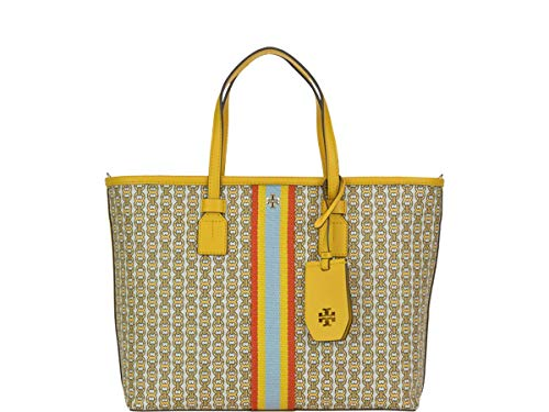 Tory Burch Gemini Link Canvas Small Tote in Daylily Yellow