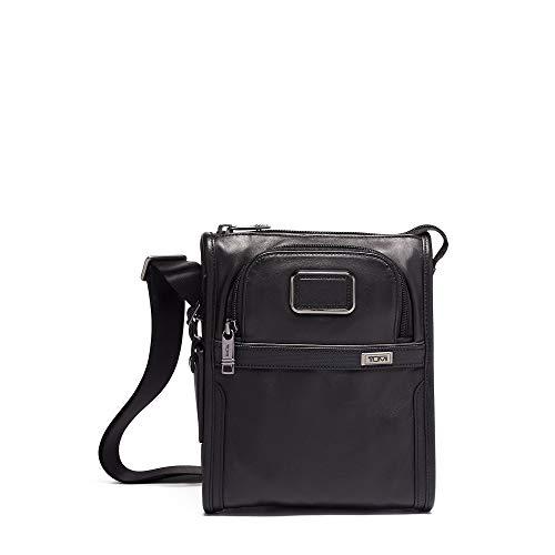 TUMI – Alpha 3 Small Pocket Crossbody Bag – Leather Satchel for Men and Women – Black