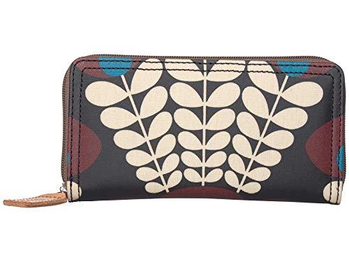 Orla Kiely Bunch of Stems Big Zip Wallet Plum One Size