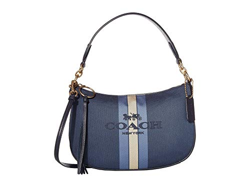 COACH Horse and Carriage Jacquard Sutton Crossbody Blue/Midnight Navy/Gold One Size