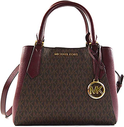 Michael Kors Kimberly MK Signature Leather Small Satchel Handbag Crossbody Bag, Merlot Multi
