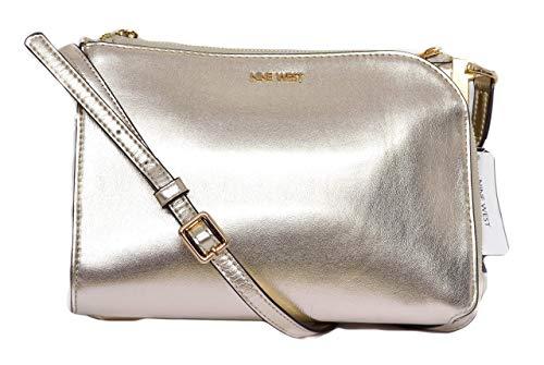 Nine West Women's Darcelle Medium Handbag Crossbody Platino Metallic
