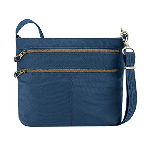 Travelon Anti-theft Signature Double Zip Cross Body Bag, Ocean