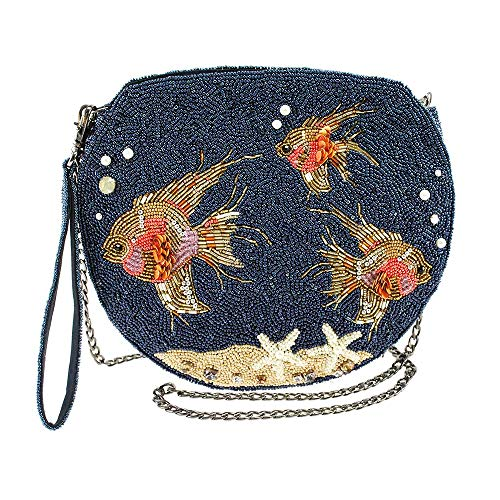 Mary Frances Filter Beaded Goldfish Tank Crossbody Handbag, Blue