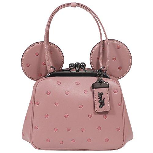 Coach Mickey Bag Crossbody Saddle Leather Mickey Ears Kiss Lock Dusty Rose Pink Bag New