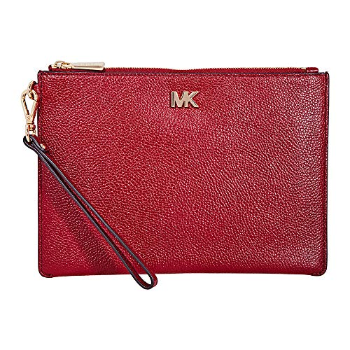 Michael Kors Medium Pebbled Leather Zip Pouch- Maroon