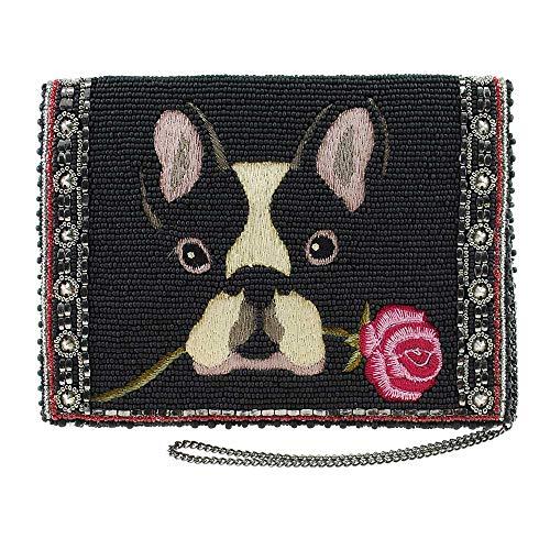Mary Frances Bow Wow Beaded-Embroidered French Bulldog Crossbody Mini Clutch Purse, Black