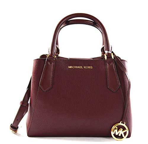 Michael Kors Kimberly Leather Small Satchel Handbag Crossbody Bag, Merlot