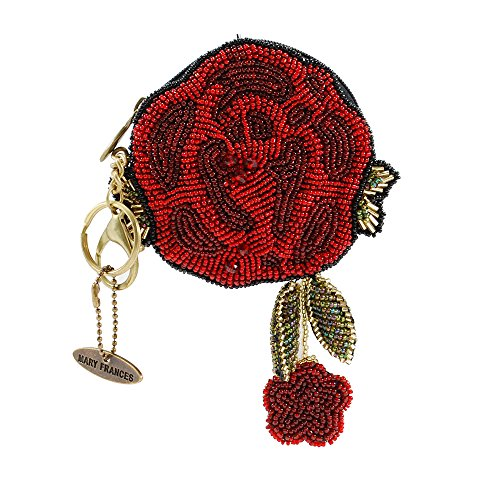 MARY FRANCES Beaded Key Fob/Coin Purses (Red Rose)