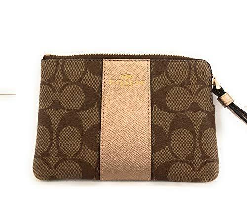 Coach Signature PVC Leather Corner Zip Wristlet (Khaki Rose Gold)